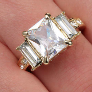 Jewelry - White Topaz 18K Yellow Gold Filled Size 6 Ring GF